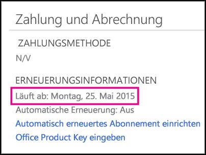 Details zur Abonnementverlängerung auf Office365-Kontoseite