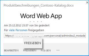 Screenshot des Popupfensters für ein Dokument in einer SharePoint-Dokumentbibliothek. Das Popup zeigt den Dokumentdateinamen und die URL. Es enthält außerdem die Schaltflächen 'Bearbeiten', 'Freigeben' und 'Folgen', auf die Sie zum Ausführen der jeweiligen Aktion klicken können.