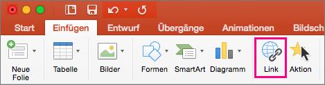 """Zeigt die Registerkarte """"Einfügen"""" in PowerPoint 2016 für Mac"""