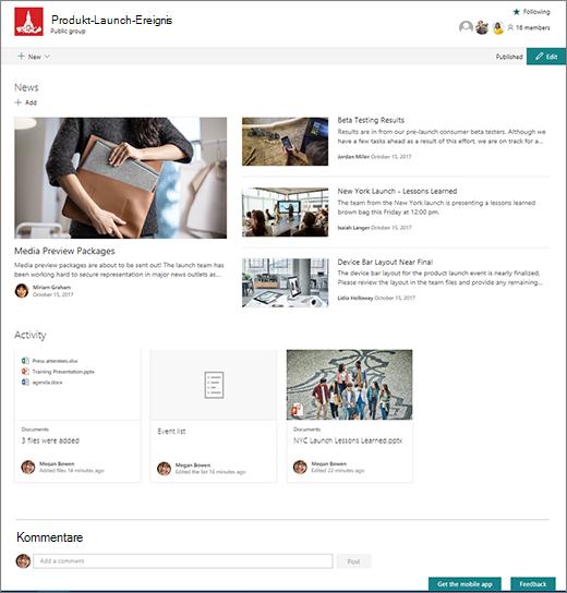 Startseite der SharePoint Teams-Website