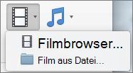Abbildung zeigt den Film im Browser und in den Film aus Dateioptionen zur Verfügung, aus dem Video Dropdown-Steuerelement. Wählen Sie eine Option zum Einfügen eines Films in eine PowerPoint-Präsentation aus.