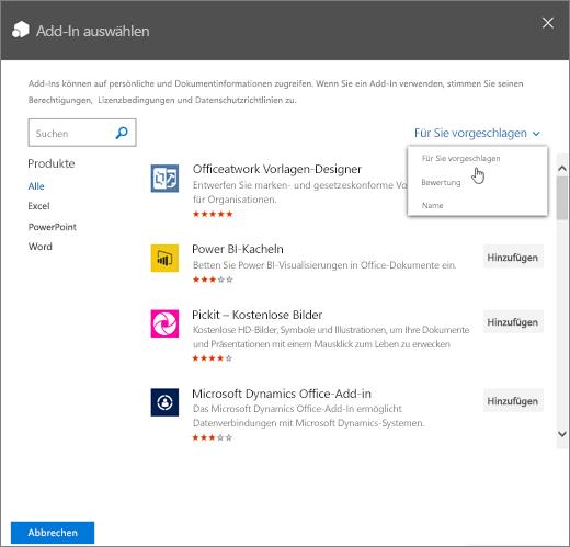 """Screenshot mit dem Dialogfeld """"Add-In auswählen"""" im Office Store Ein Dropdownsteuerelement zum Anzeigen des verfügbaren Add-Ins zeigt die Kategorien """"Für Sie vorgeschlagen"""", """"Bewertung"""" und """"Name""""."""