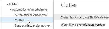 """Screenshot des Cursors, der im Menü """"Einstellungen"""" auf """"Clutter"""" zeigt"""