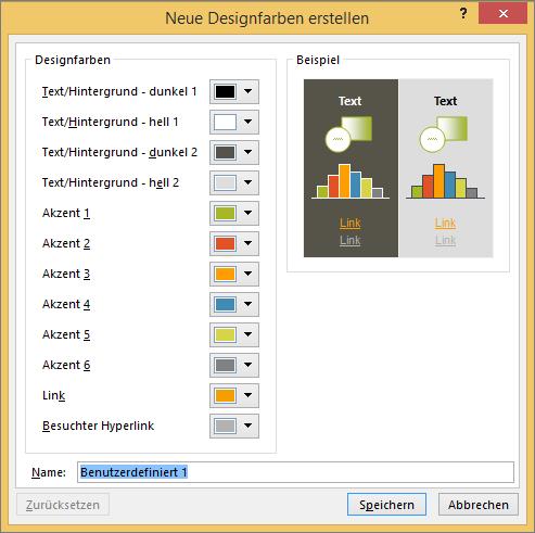 Zeigt die Farbe Dialogfeld benutzerdefinierten Designs in PowerPoint