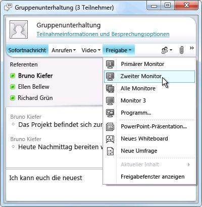 Microsoft Lync-Fenster mit den Optionen für die Bildschirmfreigabe