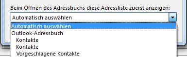Sie können den Namen des Adressbuchs auswählen, auf das Sie zuerst zugreifen möchten.