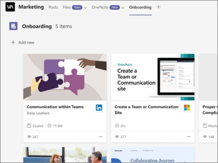 Bildschirmfoto von Viva Learning mit Registerkarten im oberen Bereich, einem Pluszeichen Neu hinzufügen, um neue Inhalte anzuheften, und Beispiel-Lerninhalten
