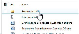 SharePoint 2010-Dokumentbibliothek mit hervorgehobenem Ordner