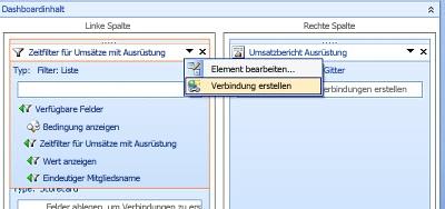 Bildschirmabbild der Menüoption 'Verbindung erstellen'