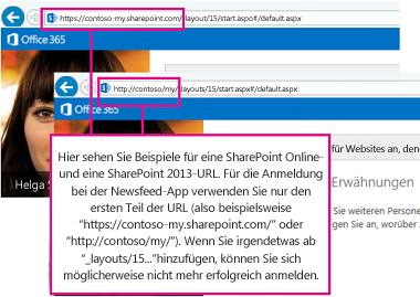 Beispiele für URLs für SharePoint Online und lokale SharePoint-Implementierungen mit Hervorhebung des ersten Teils der URL, der für die Anmeldung bei der App erforderlich ist