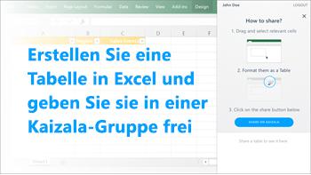 Screenshot: Eine Tabelle in Excel erstellen und in einer Kaizala-Gruppe freigeben