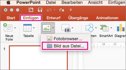 """""""Einfügen"""" > """"Bilder"""" > """"Bild"""" aus dem Menü """"Datei"""" in PowerPoint 2016 für Mac"""