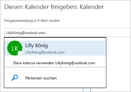 "Screenshot des Dialogfelds ""Kalender freigeben"" in Outlook.com."