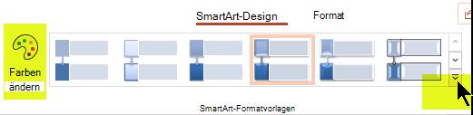 Mithilfe der Optionen auf der Registerkarte SmartArt-Design des Menübands können Sie die Farbe oder die Formatvorlage der Grafik ändern.