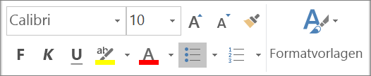 Formatsymbolleiste