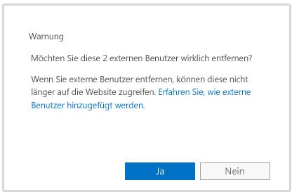 Warnmeldung beim Löschen des Kontos eines externen Benutzers