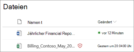 Screenshot von Dateien in OneDrive for Business mit einem als bösartiger erkannt