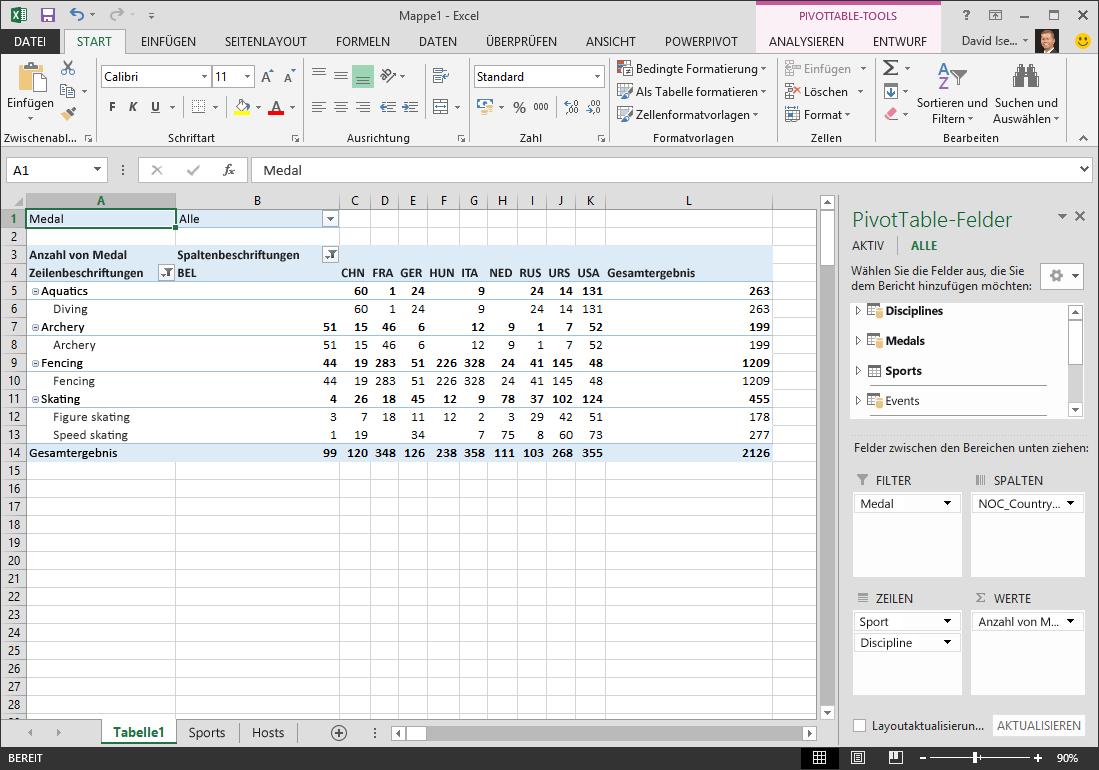 Lernprogramm: Importieren von Daten in Excel und Erstellen eines ...