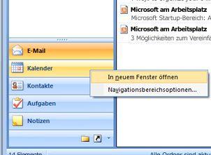 Klicken Sie mit der rechten Maustaste auf den zu öffnenden Ordner, und wählen Sie die Option 'In neuem Fenster öffnen' aus.