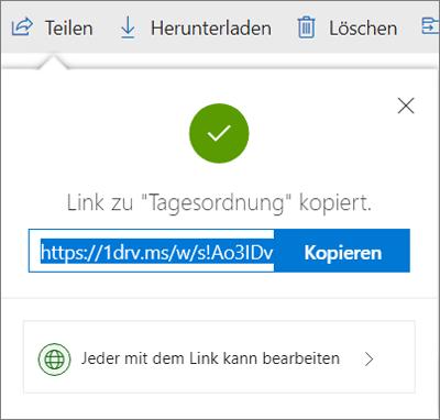 """Bestätigung für """"Link kopieren"""" beim Freigeben von Dateien über einen Link in OneDrive"""