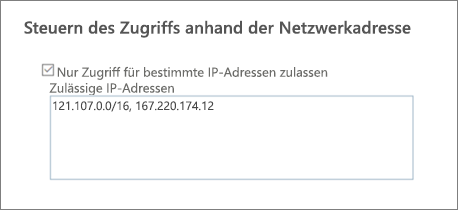 "Option ""Zugriff steuern"" im SharePoint Admin Center"
