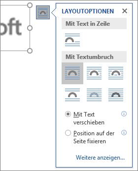 Klicken Sie auf Layoutoptionen, um zu wählen, wie Text um das eingefügte Bild fließen soll.