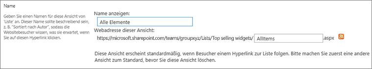 Festlegen eines Namens und optional eines Dateinamens für die Ansicht