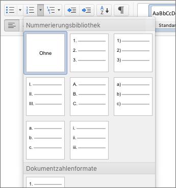 Screenshot der Optionen für Nummerierungsformate