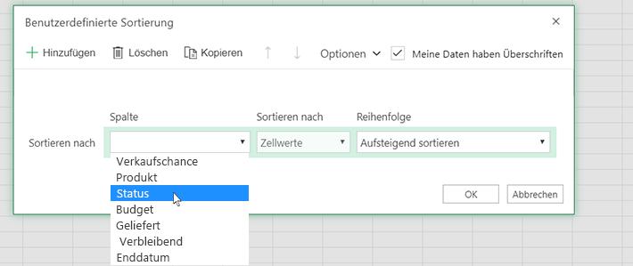 Wählen Sie im Dialogfeld für benutzerdefinierte Sortierung eine Spalte aus.