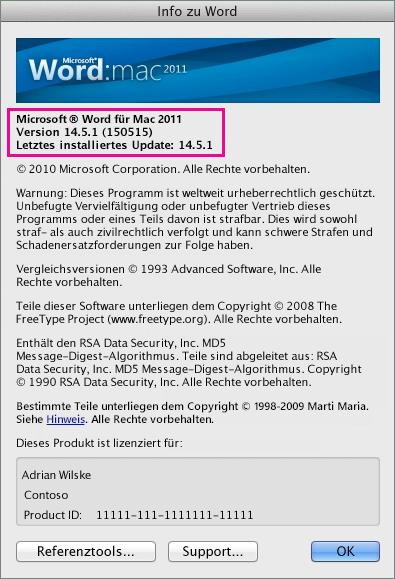 """Word für Mac 2011 mit der Seite """"Info zu Word"""""""