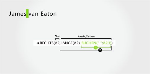 Formel zum Extrahieren eines Vornamens und eines zweiteiligen Nachnamens