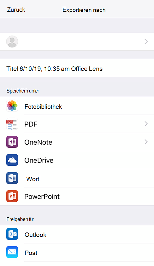 Export Optionen in Office Lens für IOS