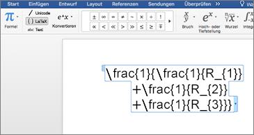 Word-Dokument mit einer LaTeX-Formel
