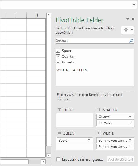 PivotTable-Felder