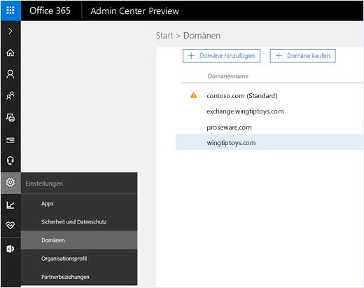 """Der Screenshot zeigt das Office 365 Admin Center, in dem sie Option """"Domänen"""" ausgewählt ist. Auf der Seite werden Domänennamen sowie Optionen zum Hinzufügen oder Erwerben einer Domäne angezeigt."""