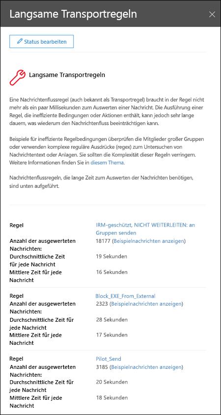 Flyout-Bereich nach dem Anzeigen von Details in einem langsam e-Mail-Verkehr auf Regeln Einblick in der e-Mail-Fluss dashboard