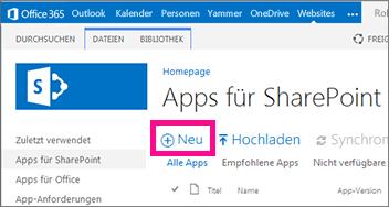Der Link 'neue App' in der Bibliothek 'Apps für SharePoint' im App-Katalog
