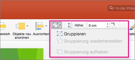"""Zeigt das Symbol """"Gruppe"""" im Menüband in PowerPoint 2016 für Mac"""