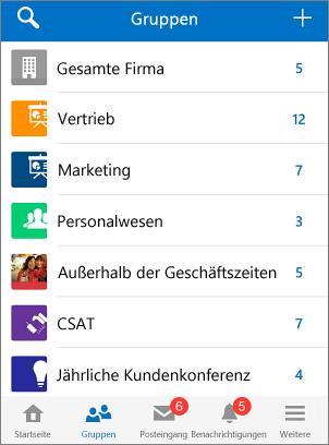 Screenshot von Gruppen in der mobilen Yammer-App