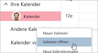 """Screenshot der Option """"Kalender öffnen"""""""