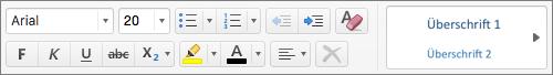 Textformatierungsoptionen