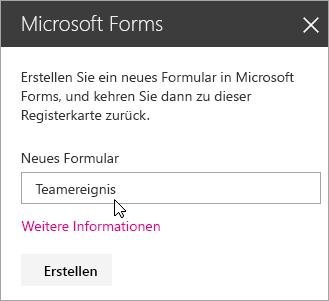 """Bereich """"Microsoft Forms-Webpart"""" für ein neues Formular."""