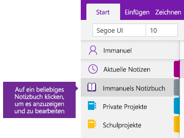 "Screenshot der Liste ""Notizbücher"" in OneNote"