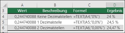 Formatcodes für Prozentwerte