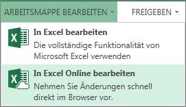 """In Excel Online bearbeiten"" im Menü ""Arbeitsmappe bearbeiten"""