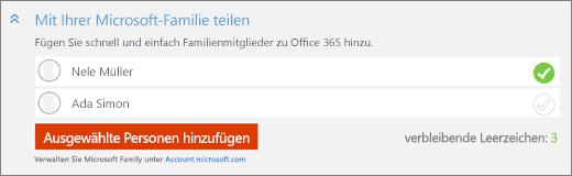 """Screenshot einer Nahaufnahme des Abschnitts """"Mit Ihrer Microsoft Family teilen"""" im Dialogfeld """"Person hinzufügen"""" mit Schaltfläche """"Ausgewählte Person hinzufügen"""""""