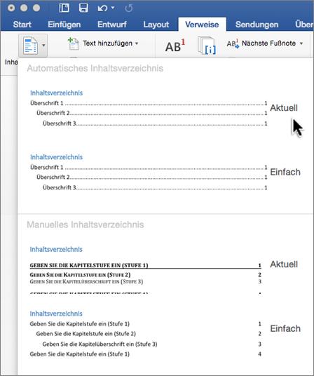 """Klicken Sie auf der Registerkarte """"Verweise """" auf """"Inhaltsverzeichnis"""", und wählen Sie im Formatvorlagenkatalog eine Vorlage für """"Automatisches Inhaltsverzeichnis"""" aus."""