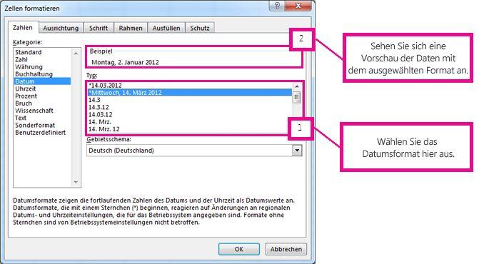 Nach Auswahl des Datumsformats wird im Feld 'Beispiel' eine Vorschau angezeigt