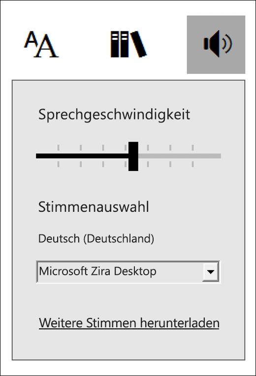 """Menü """"Sprachsteuerung"""" im immersiven Reader"""