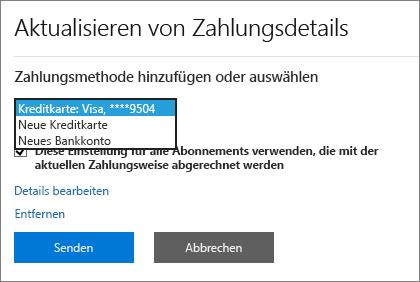 """Dropdownmenü mit den Optionen """"Neue Kreditkarte"""" und """"Neues Bankkonto"""""""
